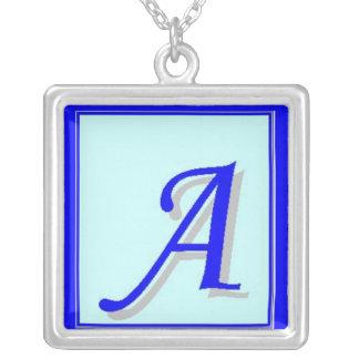 Letter A Blue Sterling Necklace