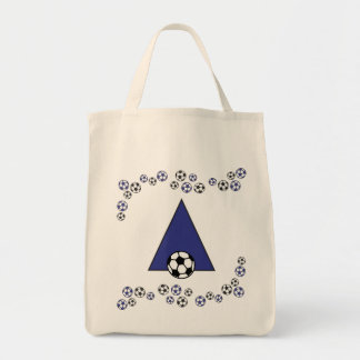 Letter A in Soccer Blue Monogram Tote