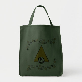 Letter A in Soccer Gold Monogram Tote Canvas Bag