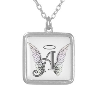 Letter A Initial Monogram with Angel Wings & Halo Square Pendant Necklace