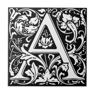 Letter A Medieval Monogram Vintage Initial Small Square Tile