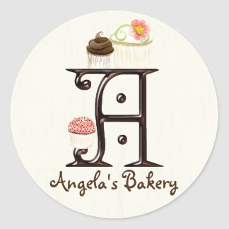Letter A Monogram Cupcake Logo Business Stickers