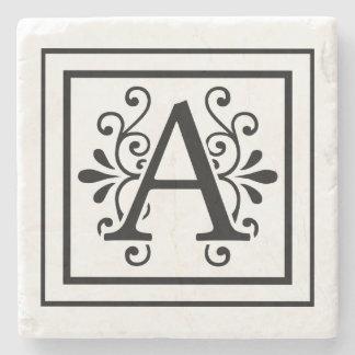 Letter A Monogram Stone Coasters
