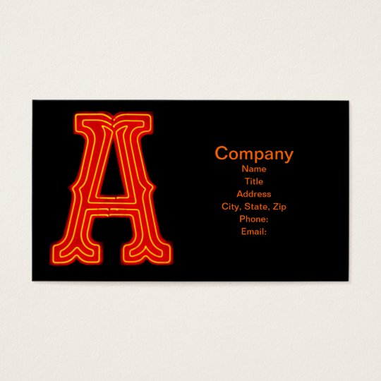 "Letter ""A"" Neon Light Monogram Business Card"