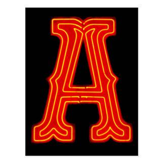 "Letter ""A"" Neon Light Monogram Postcard"