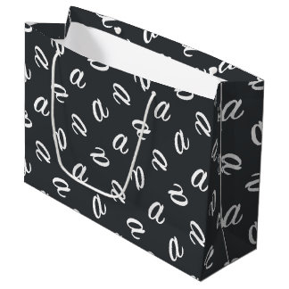 Letter A on Charcoal or Custom background color Large Gift Bag
