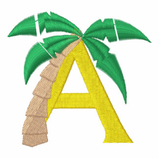 Letter A Palm Tree Monogram Embroidered Shirt