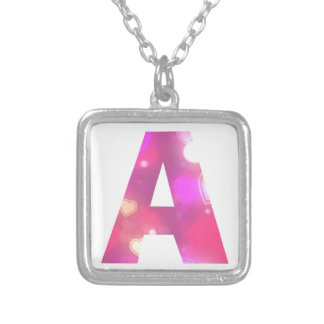 Letter A Pink Hearts Silver Plated Necklace
