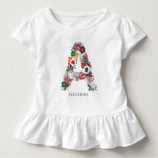 Letter A | Whimsical Floral Letter Monogram I Toddler T-Shirt