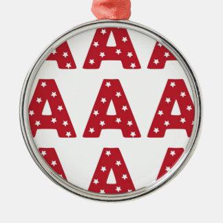 Letter A - White Stars on Dark Red Christmas Ornament