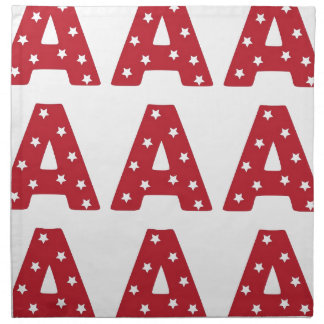 Letter A - White Stars on Dark Red Printed Napkins