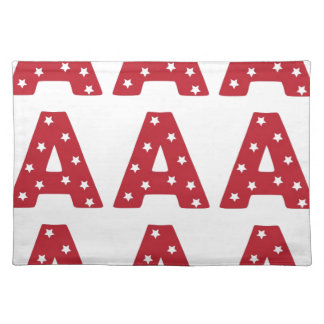Letter A - White Stars on Dark Red Placemat
