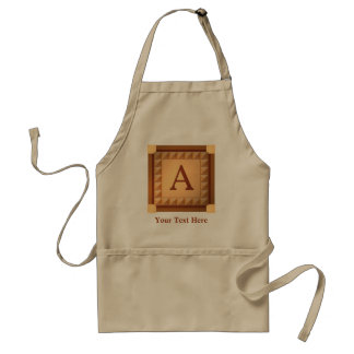 Letter A: Wood Look Initial with Custom Text Standard Apron