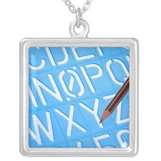 Letter and number template silver plated necklace