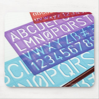 Letter and number templates mouse pad
