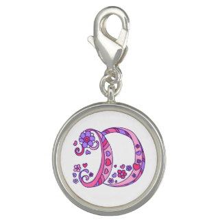 Letter art D whimsical monogram pink purple charm