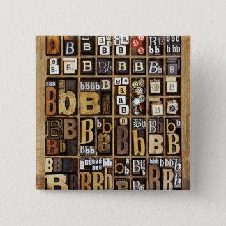 Letter B 15 Cm Square Badge