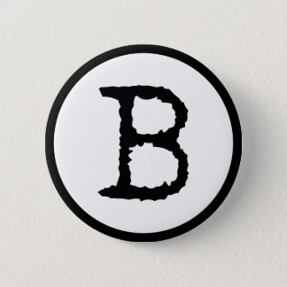 Letter B 6 Cm Round Badge