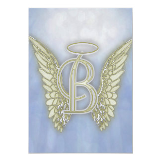 Letter B Angel Monogram 13 Cm X 18 Cm Invitation Card