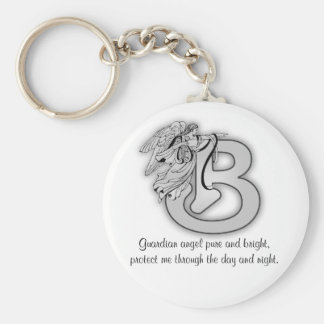 Letter B angel monogram alphabet initial black and Basic Round Button Key Ring