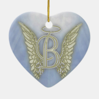 Letter B Angel Monogram Christmas Ornament