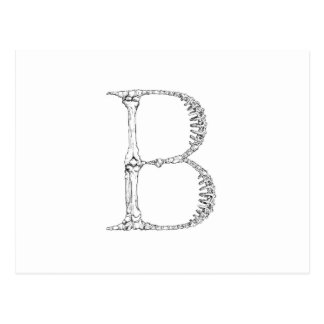 Letter B Bone Initial Postcard