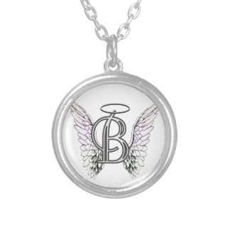 Letter B Initial Monogram with Angel Wings & Halo Silver Plated Necklace