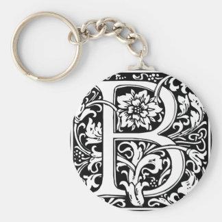 Letter B Medieval Monogram Vintage Initial Basic Round Button Key Ring