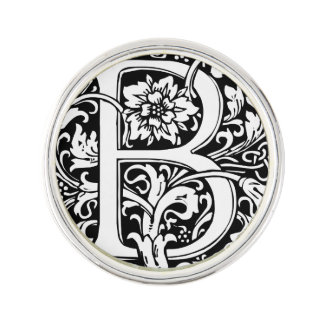 Letter B Medieval Monogram Vintage Initial Lapel Pin