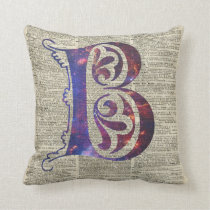 Letter B Monogram Over Old Dictionary Page Cushion