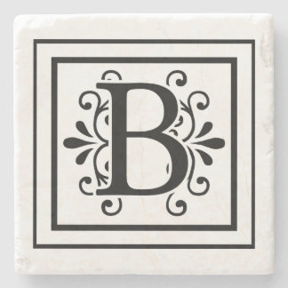 Letter B Monogram Stone Coasters
