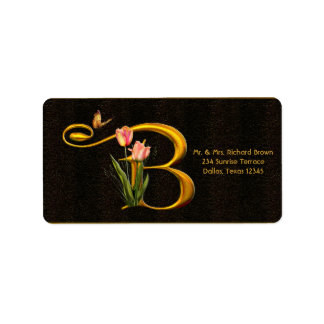 Letter B Monogram Tulip Butterfly Address Labels