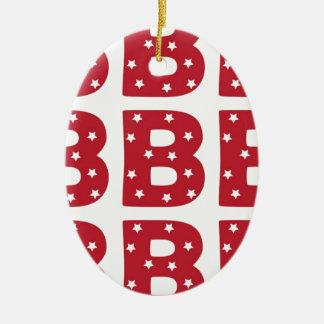 Letter B - White Stars on Dark Red Ceramic Oval Decoration