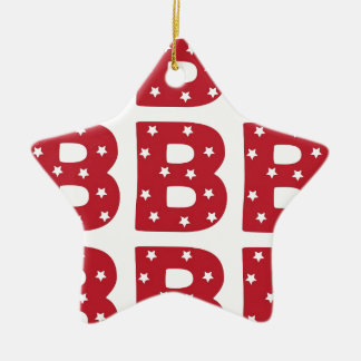 Letter B - White Stars on Dark Red Ceramic Star Decoration