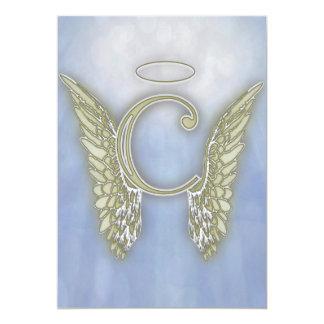 Letter C Angel Monogram 13 Cm X 18 Cm Invitation Card