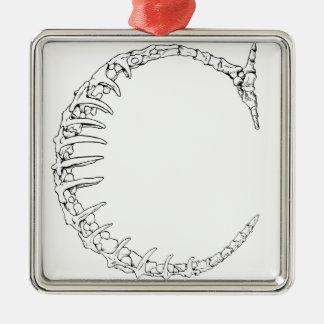 Letter C Bone Initial Christmas Ornament