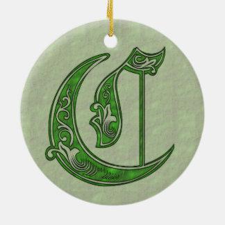 Letter C Christmas Ornament