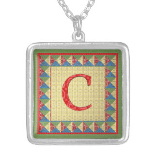 Letter C: 'Fabric Quilt' Style Initial and Pattern Square Pendant Necklace