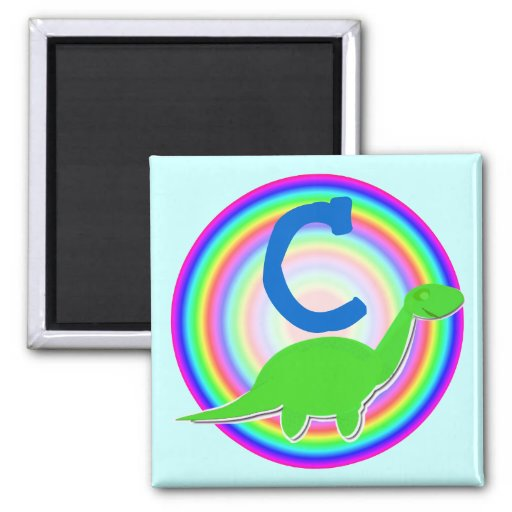 Letter C Green Dinosaur Diplodocus Fridge Magnet