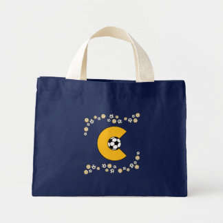 Letter C in Soccer Gold Monogram Tote Bags