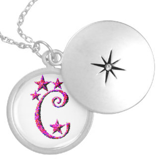 Letter C Initial Round Locket Necklace