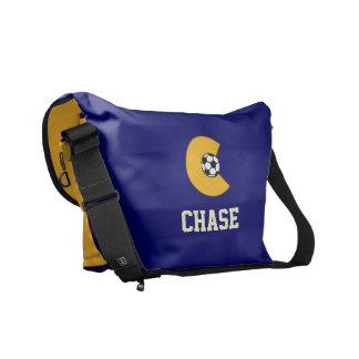 Letter C Monogram in Soccer Gold Messenger Bags