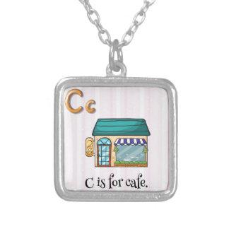 Letter C Square Pendant Necklace