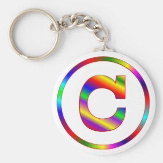 Letter C Rainbow Key Ring