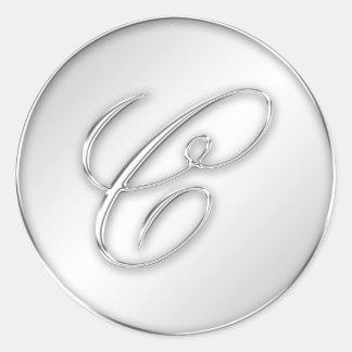 Letter C script initial faux silver monogram favor Round Sticker