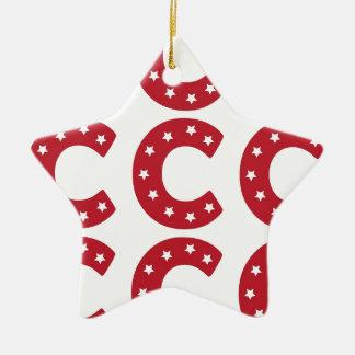 Letter C - White Stars on Dark Red Christmas Ornament