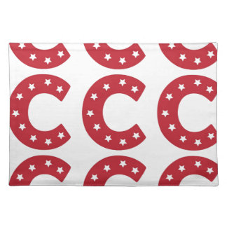 Letter C - White Stars on Dark Red Placemat