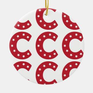 Letter C - White Stars on Dark Red Round Ceramic Decoration