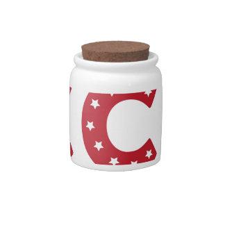 Letter C - White Stars on Dark Red Candy Jar