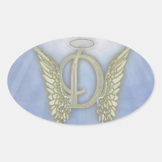 Letter D Angel Monogram Oval Sticker